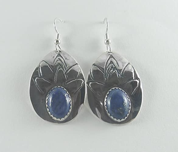 4b223c8f0 Image Unavailable. Image not available for. Color: J Pool Custom Design  Collection Handmade Lapis Lazuli Teardrop and Sterling Silver Earrings