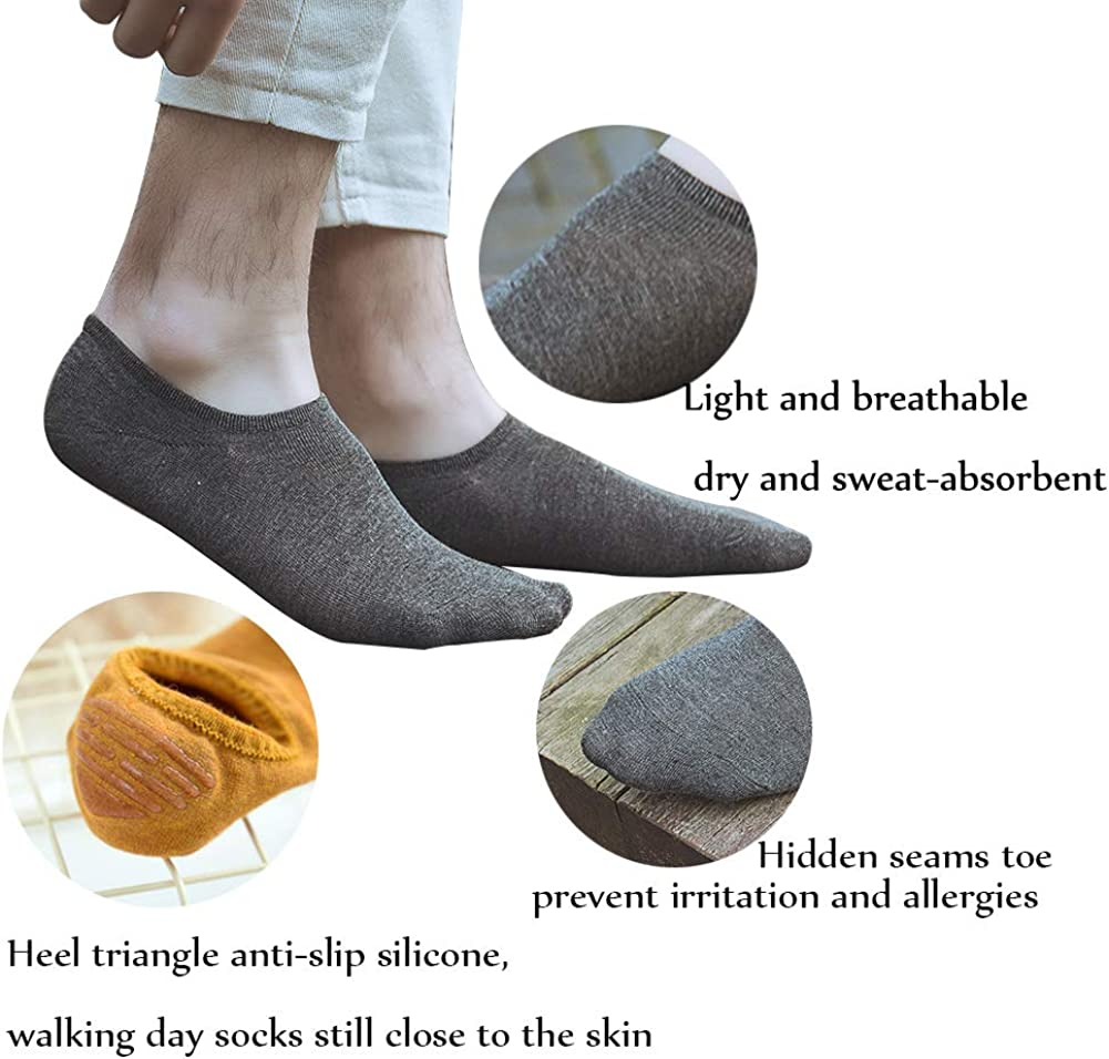 SRK 6 Pack Bamboo Low-cut Socks Women Solid color charcoal Fiber Silicone Non-slip Athletic Socks