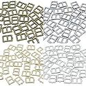 人形用 DIY ドール服の材料 レザークラフトの材料 極小 外径5×6mm 内径3mm ミニチュアパーツ 金属 メッキ 爪有り 日型角カン バックル 金具 4色 各10個 合計 40個