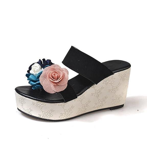 JITIAN Women es Open Toe Plateau Dias Sommer Damen Strandkleid Sandalen Flower Wedge Pantoffeln FZ0cLae4zM