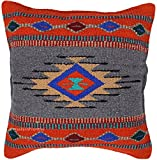 El Paso Designs Aztec Throw Pillow Covers, 18 X 18, Hand Woven in Southwest and Native American Styles. (Rust Gray)