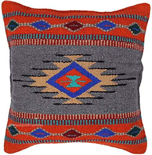 El Paso Designs Aztec Throw Pillow Covers, 18 X 18, Hand Woven in Southwest and Native American Styles. (Rust Gray) by El Paso Designs