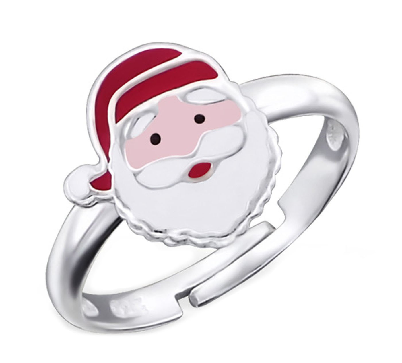 Childrens Jewelry Christmas Santa Claus Ring Size Adjustable Sterling Silver 925 (E20179)