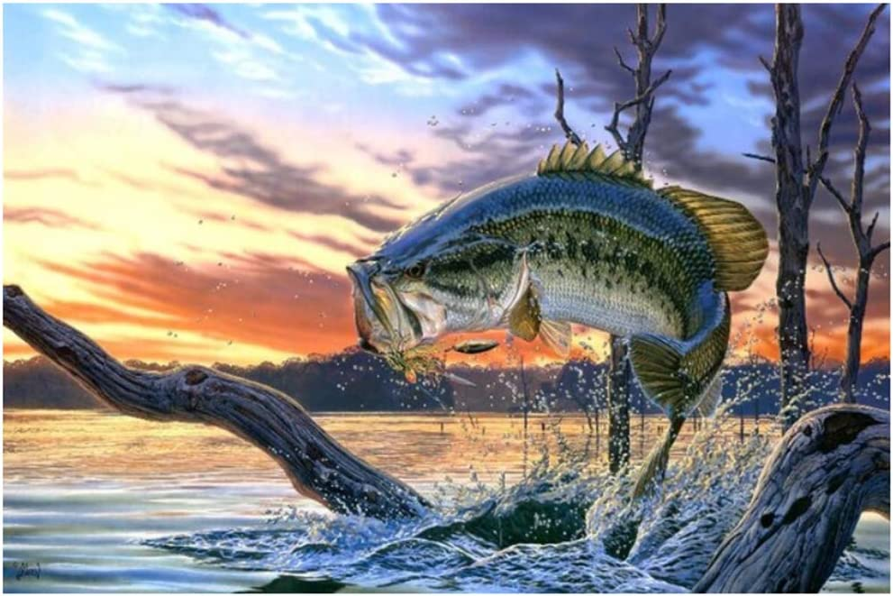 Poster and Prints Jumping Largemouth Bass Fish Canvas Painting On Wall Art Lake Animal Picture Modern Home Decor 50x75 cm/19.7
