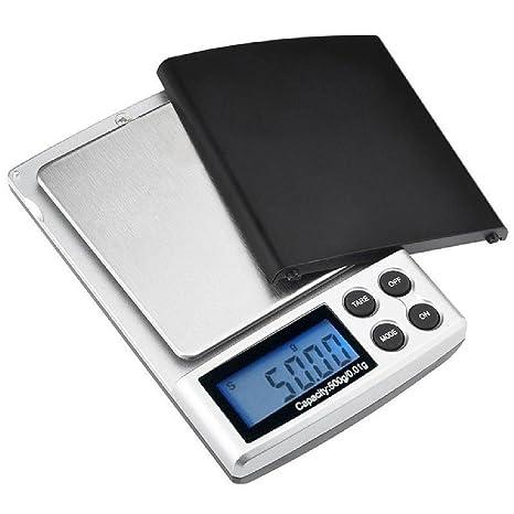 Mini balanzas de bolsillo digitales Balanzas de joyero de 500 g / 0.1 g, básculas