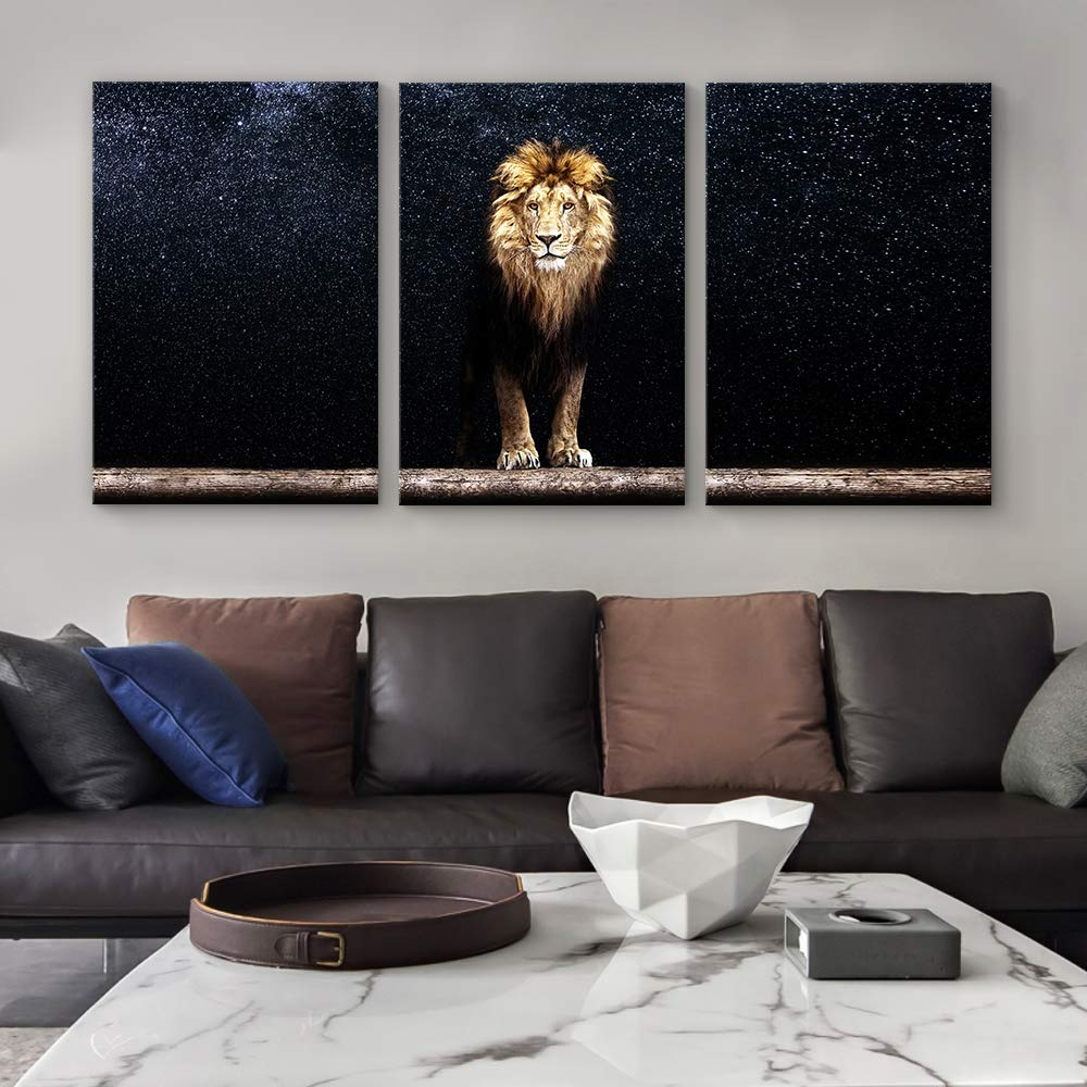 SIGNFORD Canvas Wall Art King of Forest Lion Canvas Painting Wall Poster Decor for Living Room Framed Home Decorations – 24 x36 x 3 Panels