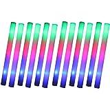 Schramm® 12er Pack LED Partystick 47cm Styropor 3 Funktionen Party Stab Schaumstoff Party Stick incl. Batterien Leuchten wie Knicklichter Glow Sticks