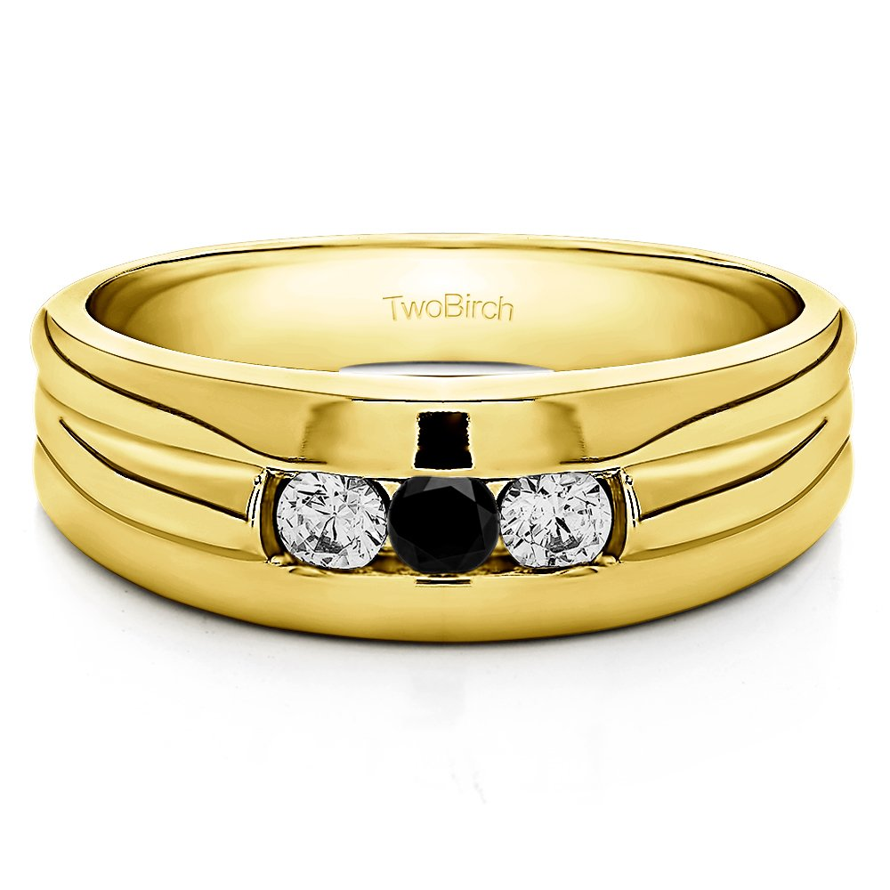 Size 3 to 15 in 1//4 Size Intervals Yellow Silver Gents Wedding Band Black and White Cubic Zirconia 0.3Ct