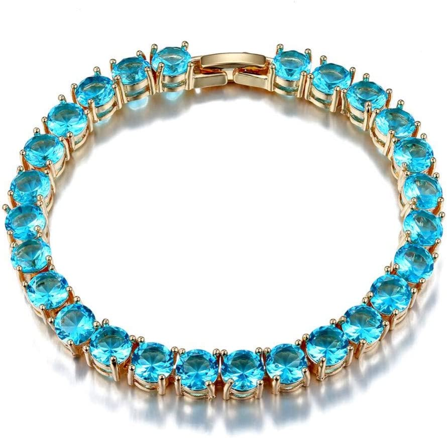 YCWDCS Pulsera Color Dorado Pulseras de Las Mujeres 925 joyería de Plata esterlina Encanto de Piedras Preciosas Azules Pulsera de la Amistad al por Mayor Regalos de Compromiso
