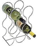 mDesign rangement bouteille en métal – casier à bouteille l'accessoire parfait pour ranger les bouteilles – porte bouteille idéal pour les bouteilles de vin – pour 6 bouteilles – couleur : chrome