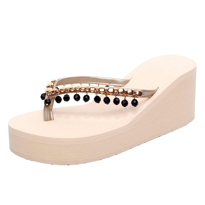 Frestepvie Sandales Espadrilles Bohême Chaussures Femme Fille Slippers Chaussons Compensé Plat Simple Confortable Mode Casual Plage Eté