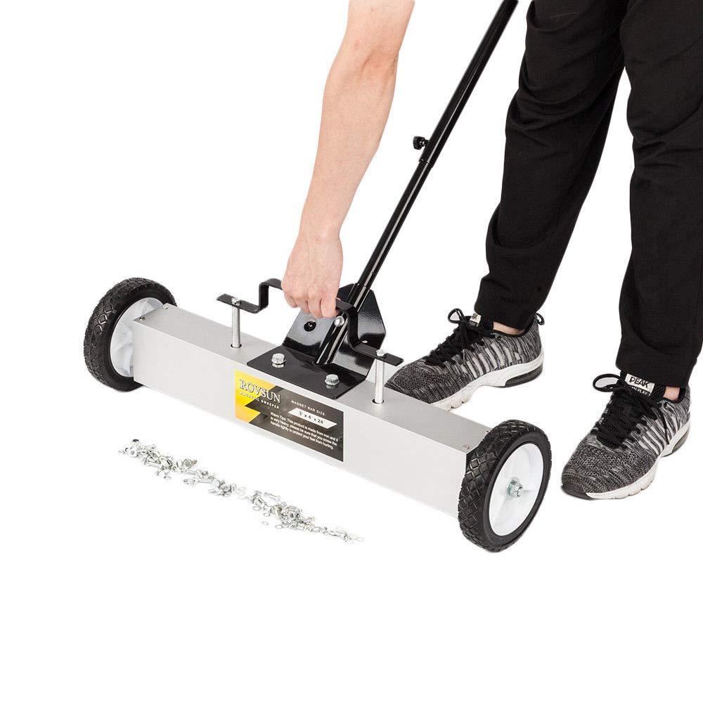 36'' Magnetic Floor Sweeper Metal Scrap Screw Rolling Pick Up Roller Push Broom