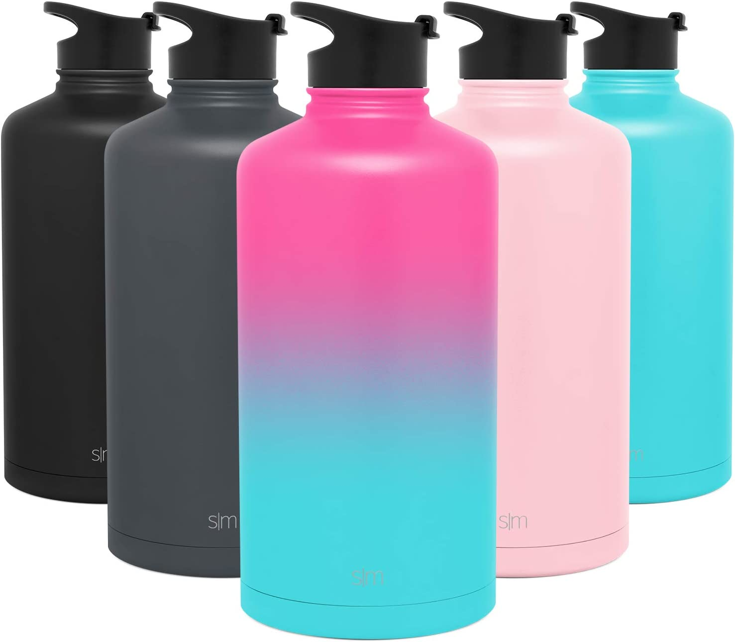 Flip Lid Simple Modern Insulated Water Bottle Large Gallon Reusable Summit Wide Mouth Stainless Steel Thermos Flask Ombre: Sorbet 128oz 1 Gallon
