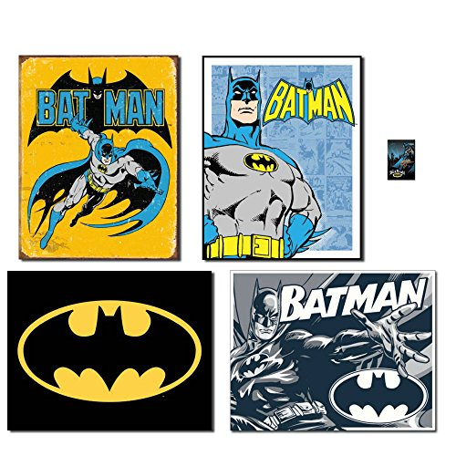 Superhero Batman Tin Sign Bundle - Batman Retro, Batman Retro Panels, Batman Logo, Batman Duotone. Plus Batman Dark Knight Magnet.