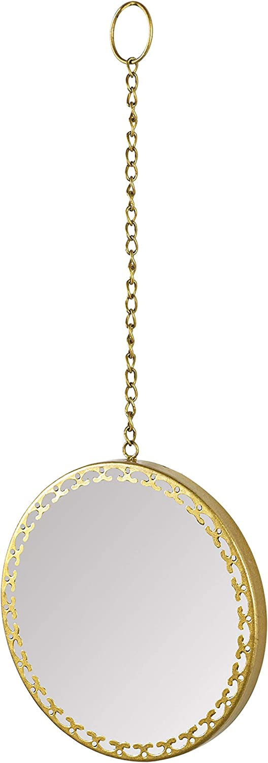 Hanging Round Mirror for Wall Decor Gold Mirror with Hanging Chain for Home Bathroom Bedroom Living Room Entryway (9.8