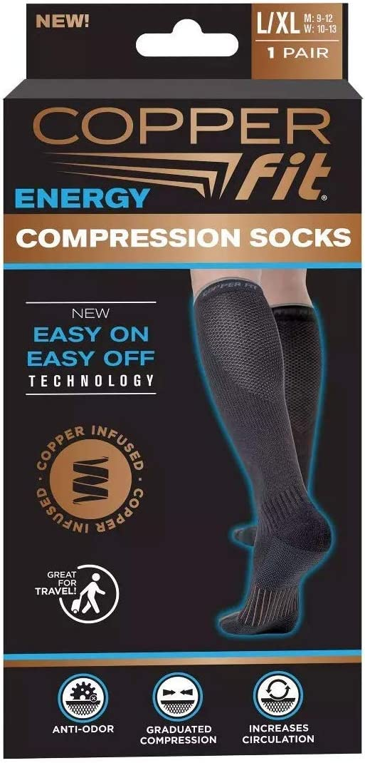 2 Pair Copper Fit Energy Compression Knee High Socks Easy ON, Easy Off (S/M or L/XL, Black) (L/XL)