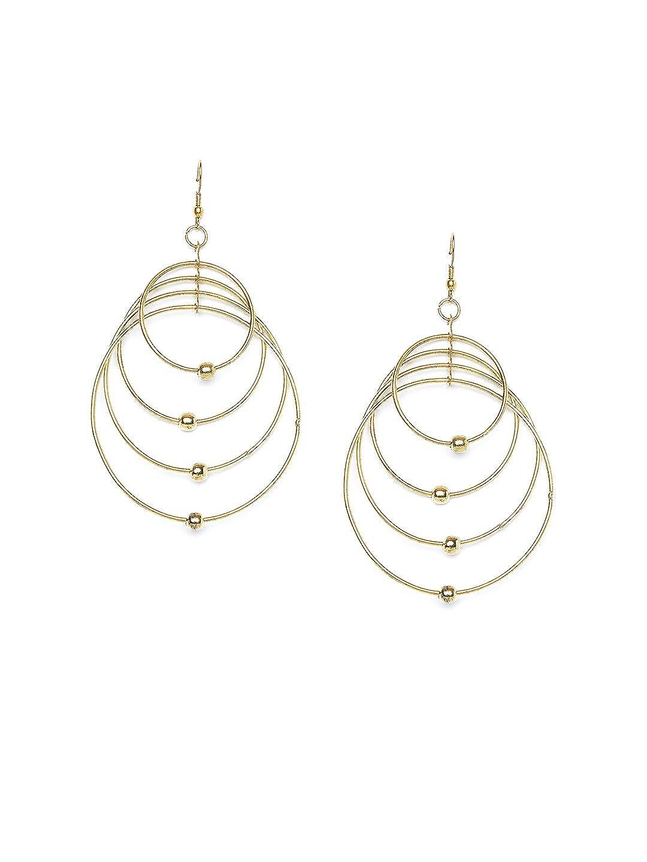 ZeroKaata/Fashion Jewellery Gold Plated Brass Metal Layered Hoops Western Earrings For Women /& Girls