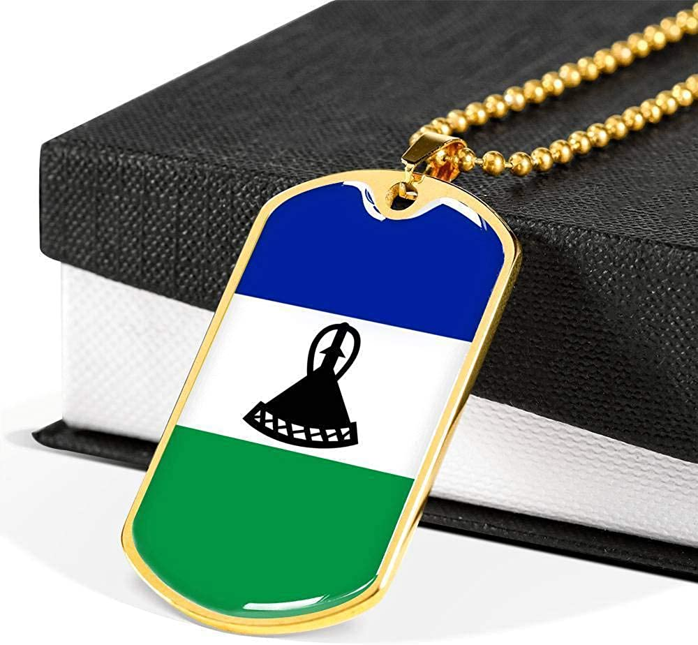 Lesotho Flag Love My Country Handmade Necklace Stainless Steel or 18k Gold Dog T