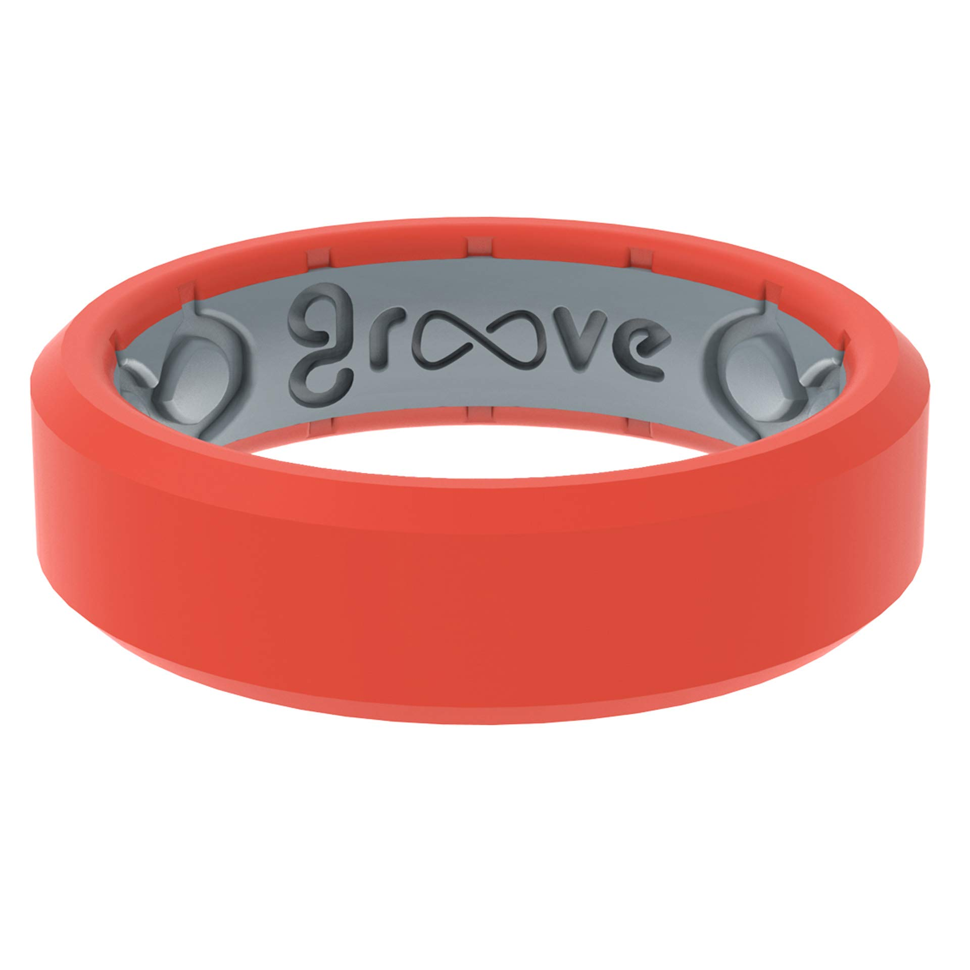 Groove Life Silicone Wedding Ring for Women - Breathable Rubber Rings for Women Lifetime Coverage Unique Design Comfort Fit Womens Ring - Edge Thin