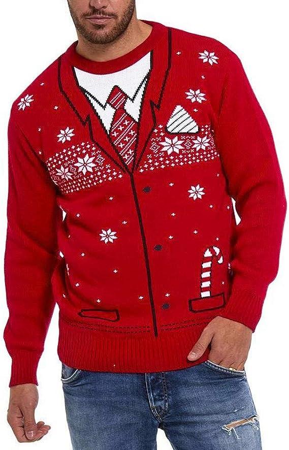 Tosonse Suéter Feo Hombres Navidad Impreso Jersey De Invierno ...