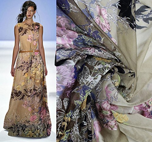 Designer Brown 100% Pure Silk Chiffon Fabric With Colorful Floral Printed Pattern By The Yard, 55