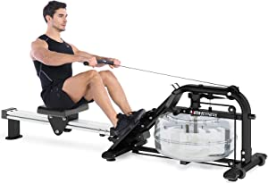 MBH Fitness Water Rowing Machine with LCD Monitor for Home Use Sports Fitness Training Equipment