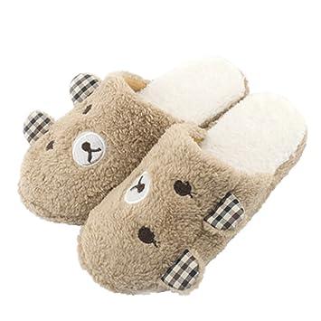 Demiawaking Niedliche Panda Winter Warme Rutschfeste Plüsch Hausschuhe (XL EU 4243, Kaffee)