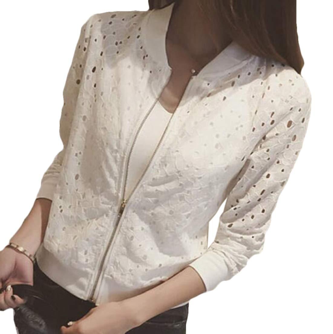 CRYYU Women Baseball Uniform Jacket Zipper Lace Hollow Long Sleeve Lace Outwear White US L