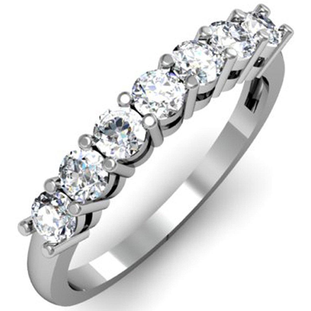 Dazzlingrock Collection 0.75 Carat (ctw) 14K Round White Diamond Ladies 7 Stone Bridal Wedding Band Anniversary Ring 3/4 CT, White Gold, Size 5.5