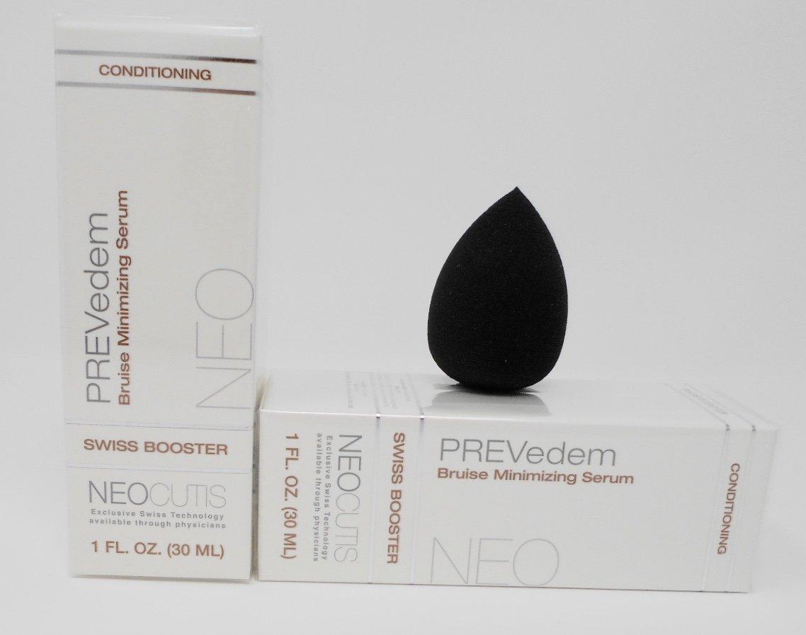 Neocutis PREVedem - Bruise Minimizing Serum 1 oz. (2-Pack) Anti-Aging Cosmetic Blender Sponge Bundle.
