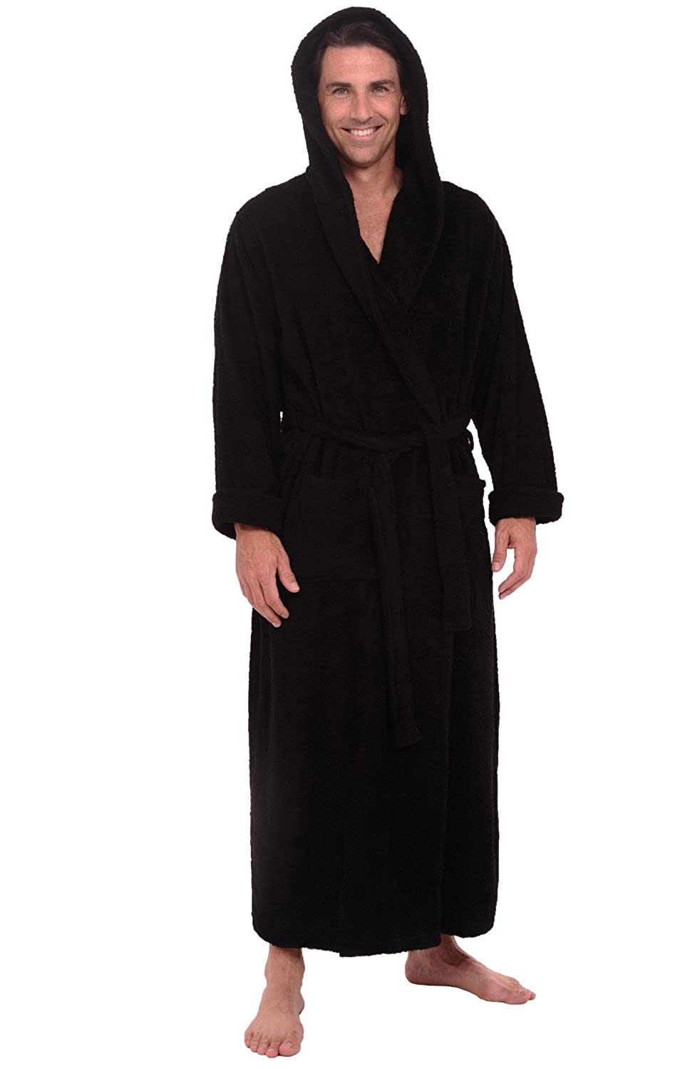 Alexander Del Rossa Mens Turkish Terry Cloth Robe, Thick Hooded ...