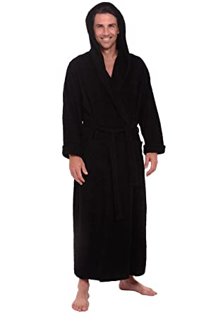 Alexander Del Rossa Mens Turkish Terry Cloth Robe, Long Cotton Hooded  Bathrobe, Small Medium
