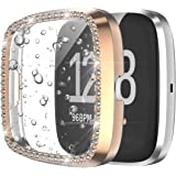 Landhoo Rose Gold Case for Fitbit Versa 2 Screen Protector covers Accessories,Hard Bling PC HD PMMA Tempered Glass…