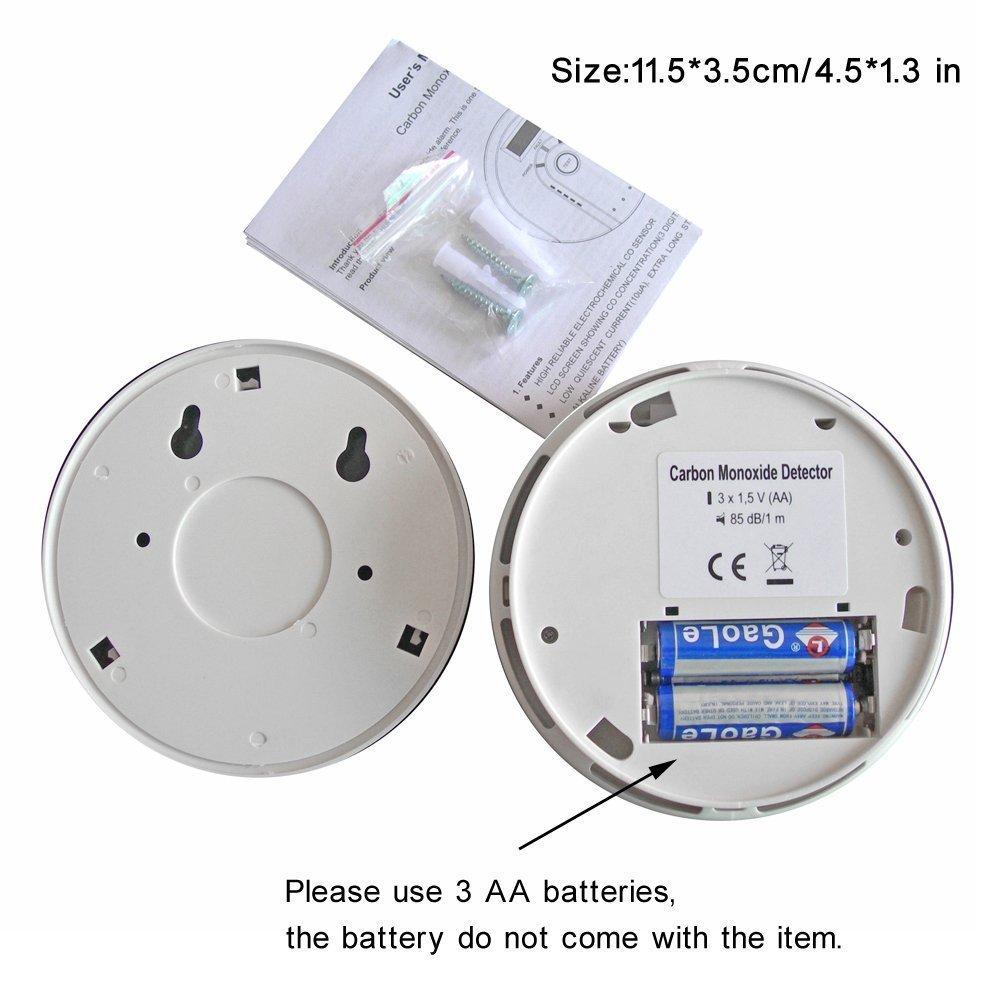 Tepoinn 2pcs Detector de Monóxito de Carbono Alarma CO con Pantalla Digital Electroquímica CO Sensor Advertencia de Voz: Amazon.es: Industria, ...