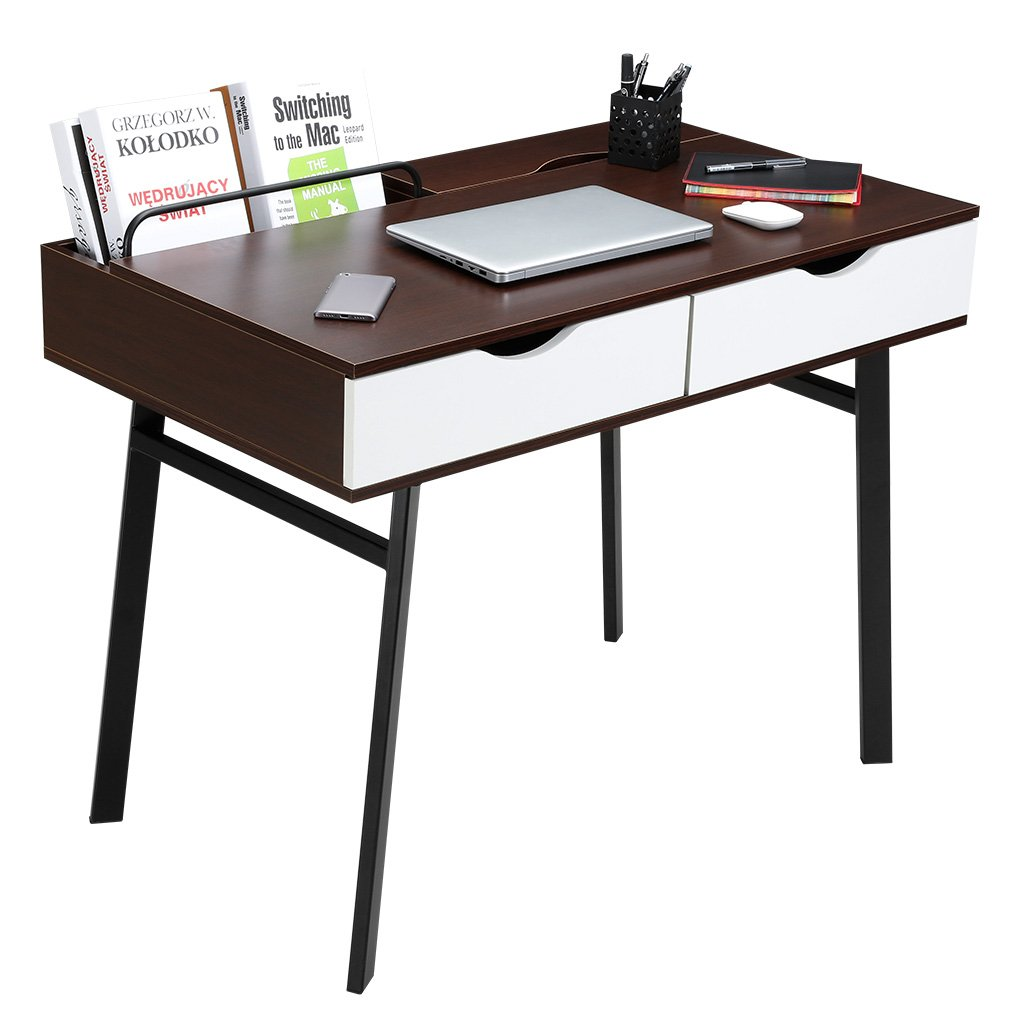 LANGRIA Computer Desk Home Office Desk, Modern Computer Table Large with 2 Drawers 2 Built-in Storage Compartments Sturdy Metal Legs Laptop Study Workstation(39 x 23 x 29.5 in, Black Walnut&White)