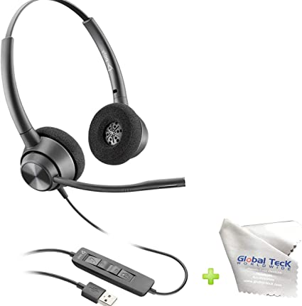 Amazon Com Global Teck Bundle Usb Headphones Plantronics Encorepro 320 Usb A Usb Headset With Microphone For Laptop Pc Mac Noise Cancelling Volume And Mute Buttons Home Audio Theater