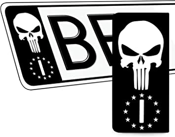Skinoeu 2 X Vinyl Aufkleber Nummernschild Kennzeichen Punisher Skull Scädel Totenkopf Stickers Italia Flagge Jdm Tuning Auto Motorrad Eu Qv 41 Auto