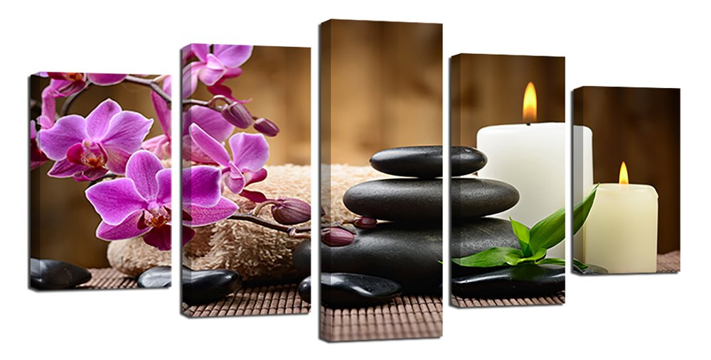Ardemy Zen Canvas Wall Art SPA Black Stone Orchid 5 Panels Picture Prints on Canvas, Modern Peaceful Framed for Living Room Bathroom Bedroom Home Hair Nail Salon Decor