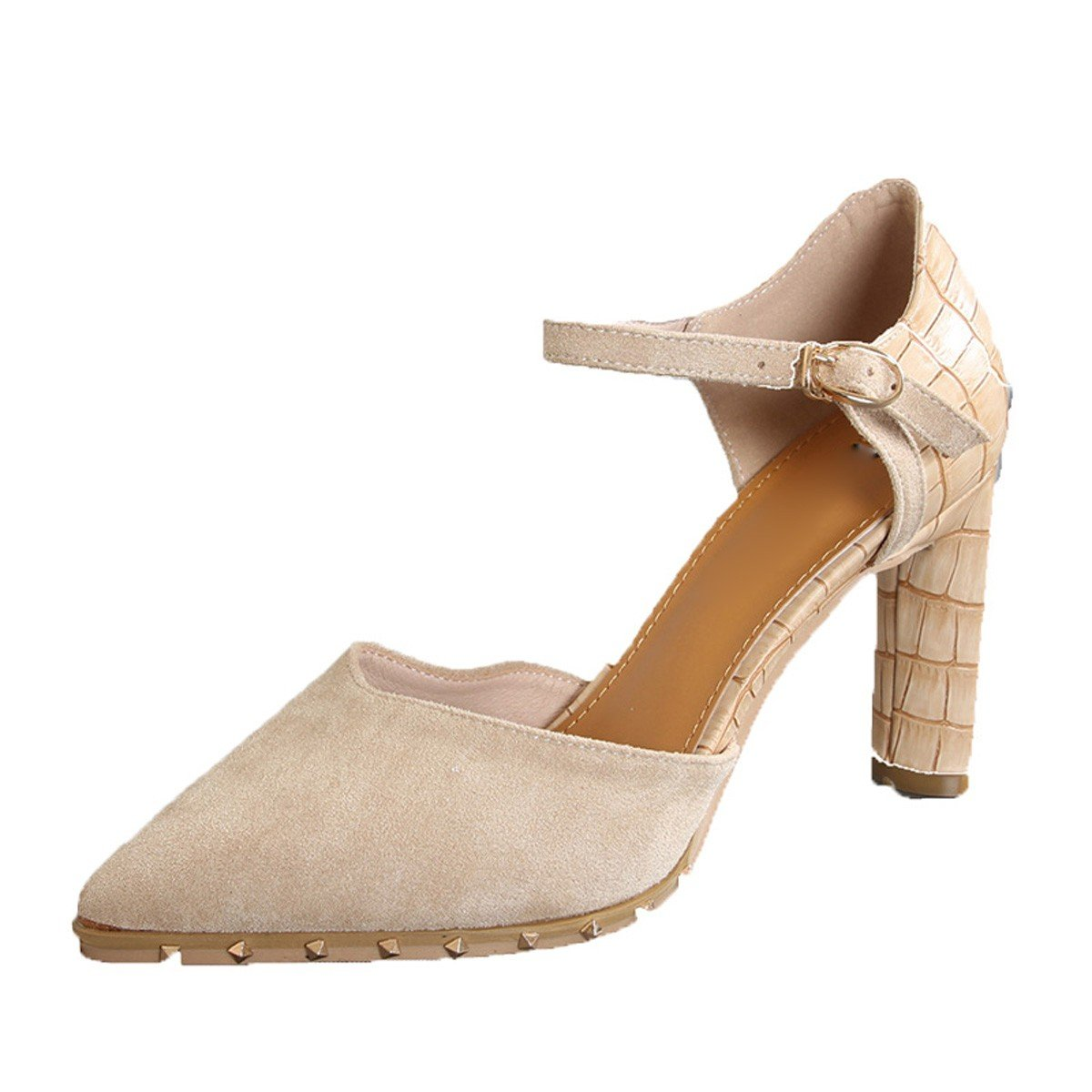 GTVERNH Damenschuhe Mode mit Den Folgenden Worten    9Cm Hochhackigen Schuhe Zangen Flachen Nieten Nieten Retro aus Wildleder Einzelne Schuhe der Frühling. 00b4eb