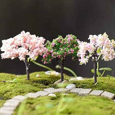 Gilroy 3Pcs Plastic Miniature Flower Cherry Blossoms Tree Miniature Landscape Accessories Dollhouse Garden DIY Ornament Decor: Industrial & Scientific