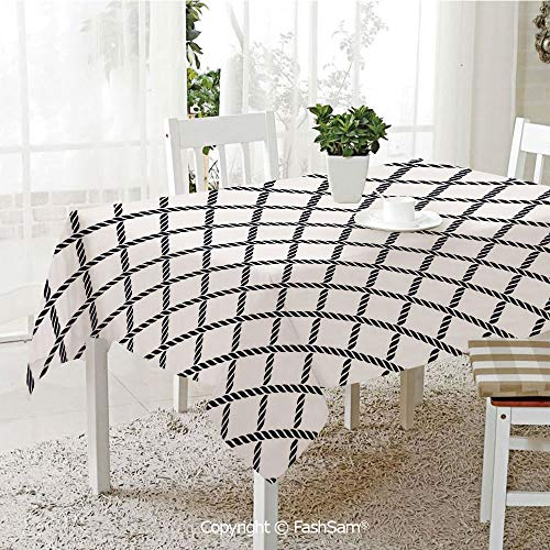 AmaUncle Premium Waterproof Table Cover Checkered Rope Pattern Maritime Themed Fish Net Shape Inspirations Decorative Kitchen Rectangular Table Cover (W60 xL104)