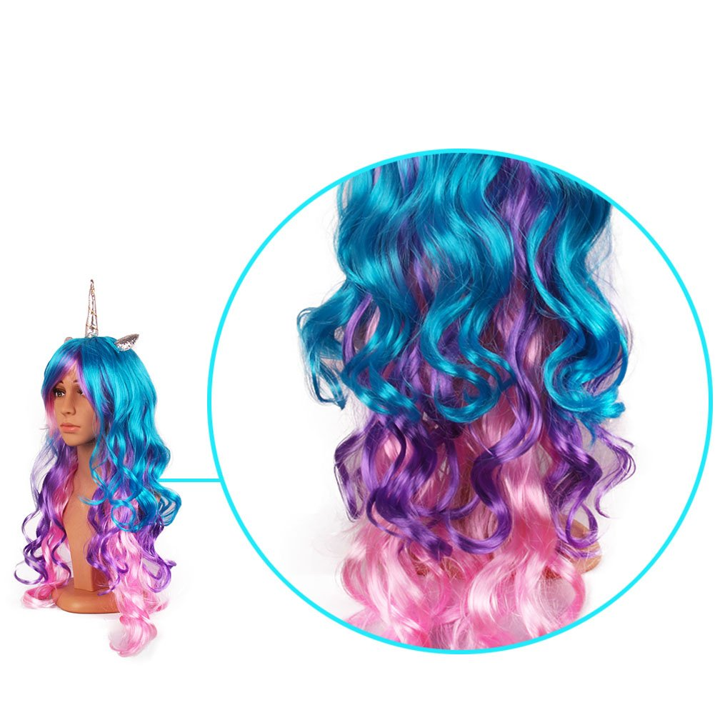 MIMIEYES Unicorn Horn Wig with Ears Headband Hairpiece Rainbow Long Curly Wigs for Halloween Party Cosplay Costume (Silver Horn)