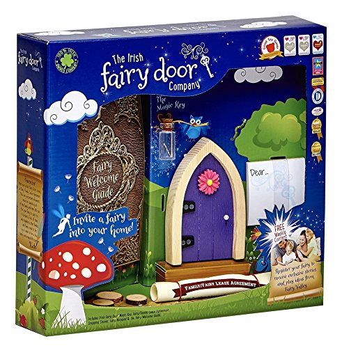 Tooth Fairy Costume Pictures (The Irish Fairy Door Company - Purple Arched Door - Includes Magic Key in a Bottle, 3 Stepping Stones, Fairy Lease Agreement, Notepad, and Fairy Welcome Guide)