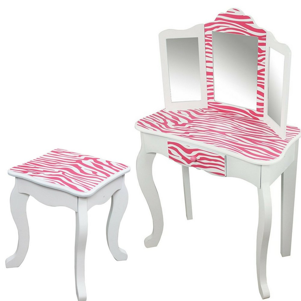Girls White Vanity Set with Pink Animal Stripes Print Vanity Table with Drawer Mirror and Stool Wooden Toy Vanity Toy Activity Roleplay Set eBook by Easy&FunDeals