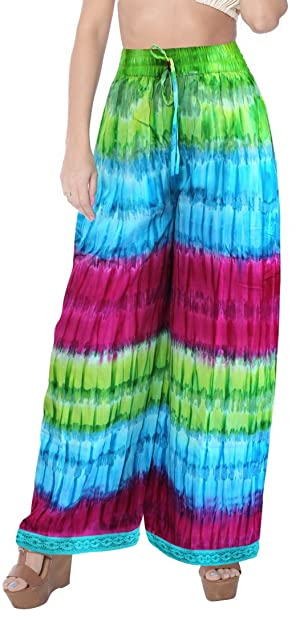 Beachwear TieDye Elastic Waist Ankle Length Comfy Airy Lounge Wear Palazzo Pants Valentines Day Gifts 2017