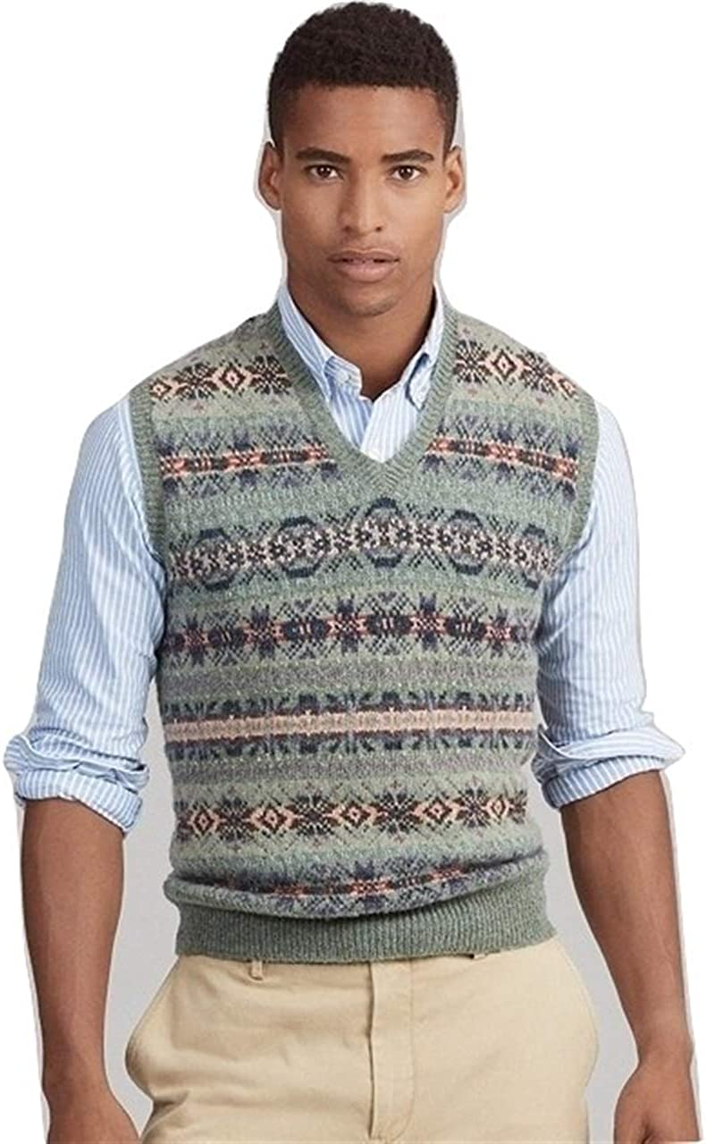 1920s Style Mens Vests Ralph Lauren Polo Mens Wool-Blend Fair Isle Knit Sweater Vest $129.77 AT vintagedancer.com