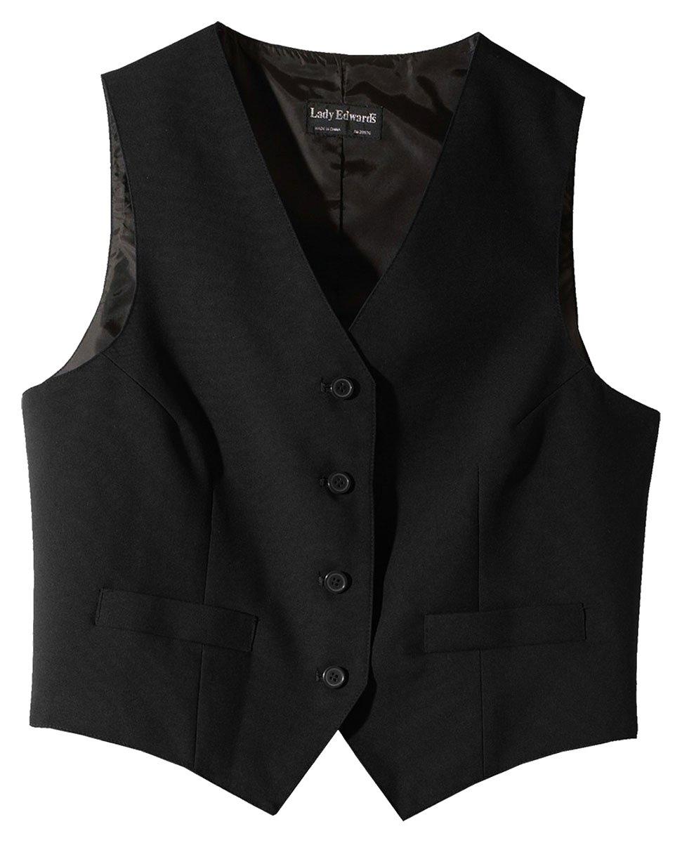 Ed Garments Women's Fully Lined V-Neck Economy Vest, BLACK, Large