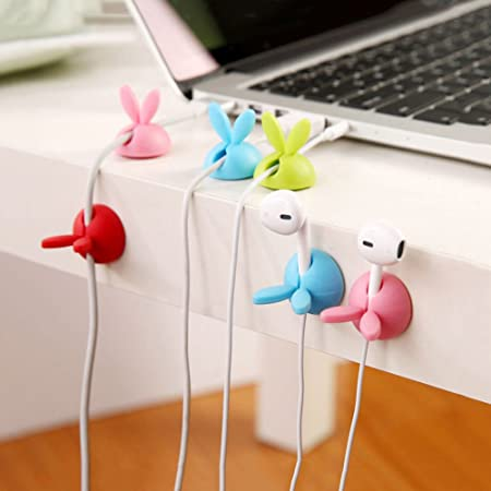 6 X Cable Clips Tidy Holder Lead Organiser Wire Cord USB TV Holder Wire
