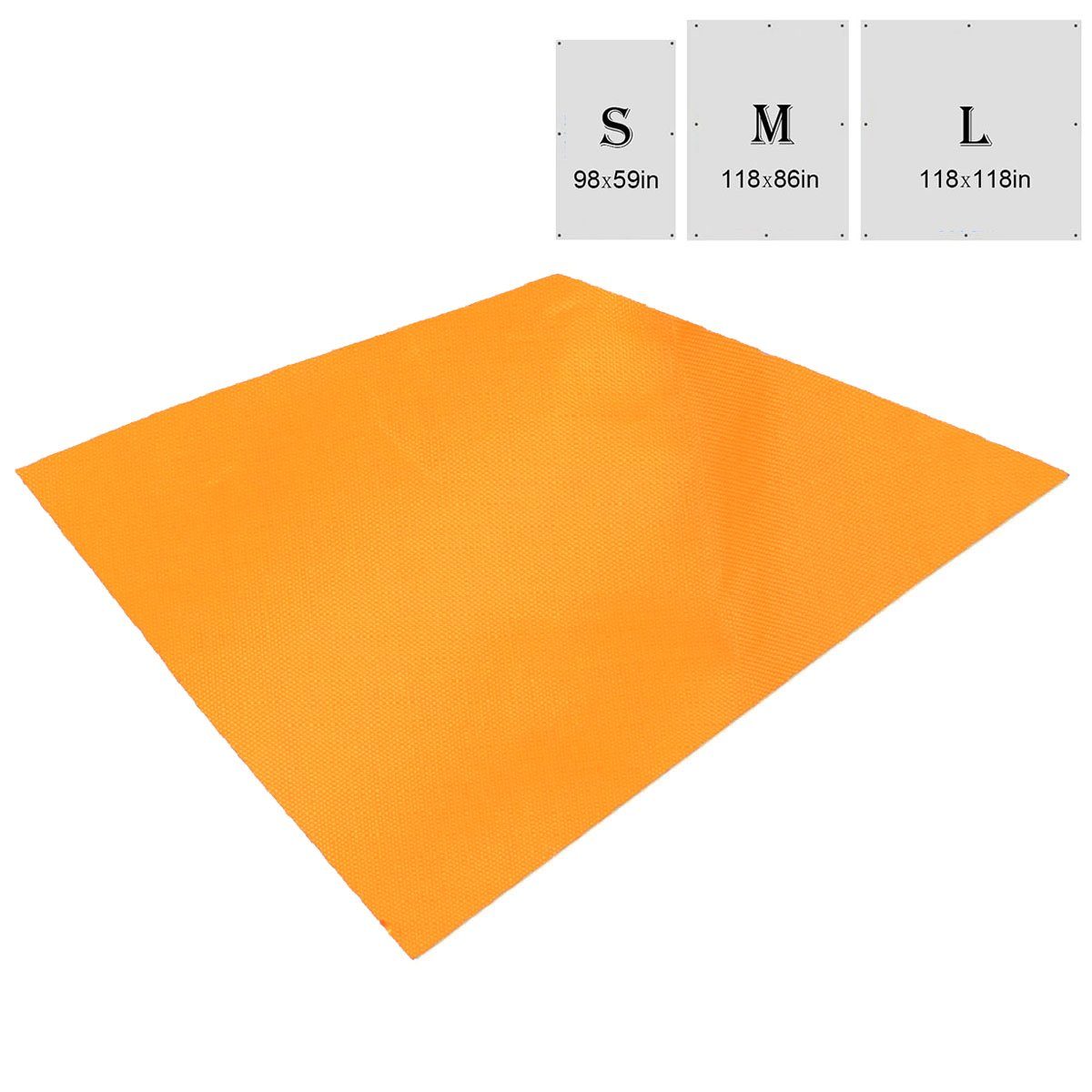 TRIWONDER Waterproof Hammock Rain Fly Tent Tarp Footprint Camping Shelter Ground Cloth Sunshade Mat for Outdoor Hiking Beach Picnic (Orange, L - 118 x 118in) by TRIWONDER