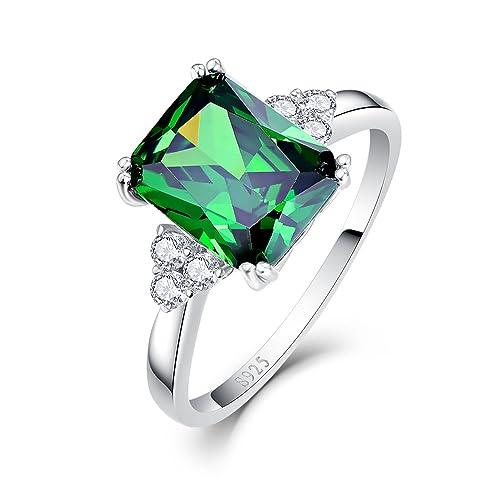 de20e494f735f BONLAVIE Women's 5.3ct Emerald Cut Created Green Emerald 925 Sterling  Silver Engagement Ring